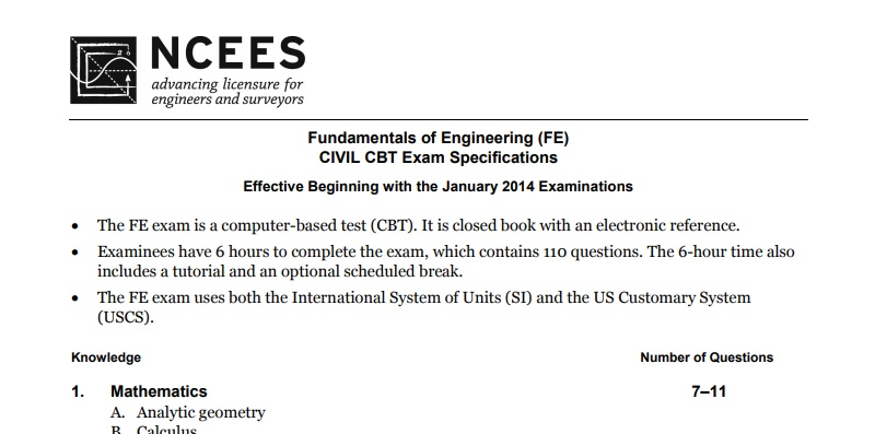 FE Civil CBT Exam Specifications/Syllabus-PDF Download